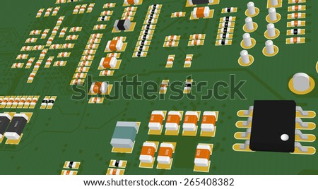 Printed Circuit Board green with resistors and capacitors and chips - stock photo