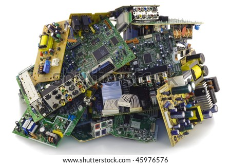 Printed-circuit boards of various electronic systems prepared for processing. Isolated on white. - stock photo