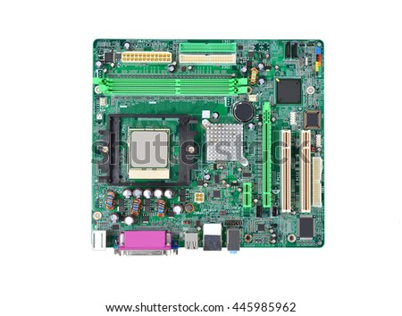 Printed computer motherboard board, isolated on white background - stock photo