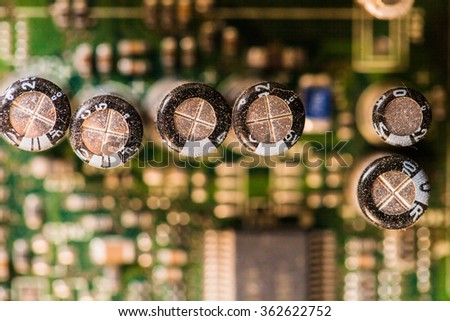 Printed computer motherboard PCI connector slot, Dof - stock photo