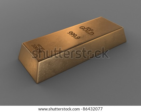 printed gold bar isolated on grey - stock photo