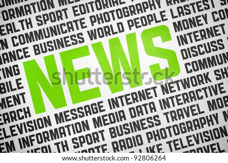 Printed poster with News headline and keyword text on news theme. Added a slightly vignetting on the image. Close up shot. - stock photo