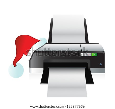 printer and christmas hat gift concept illustration design
