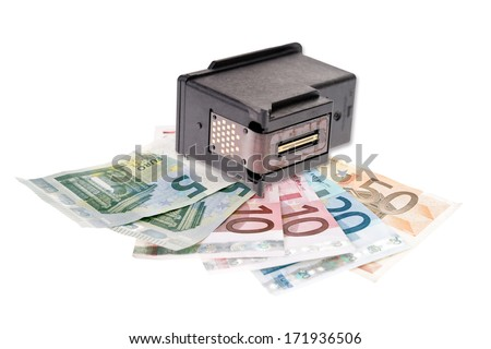 Printer cartridge and euro banknotes isolated over a white background / Printer Cartridge Recycling - stock photo