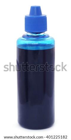 Printer ink bottle over white background - stock photo
