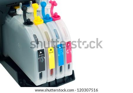 printer ink cartridges isolated on white - stock photo