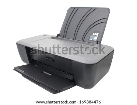 Printer isolated on white - stock photo