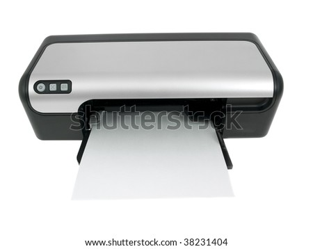 Printer isolated on white background - stock photo