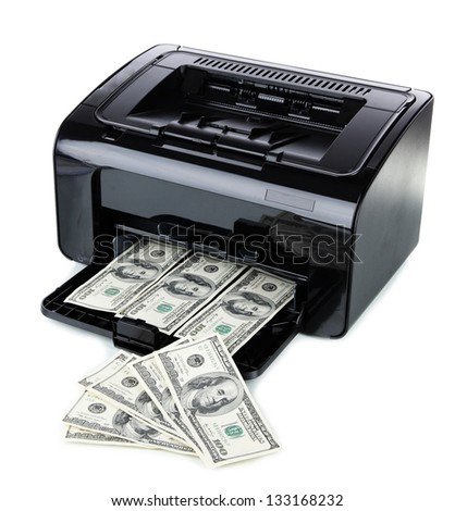 Printer printing fake dollar bills isolated on white