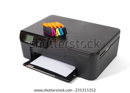 Printer, scanner, copier  isolated on white background - stock photo