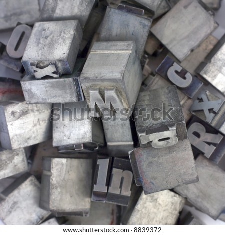 Printers blocks. Lower and upper case letters. - stock photo
