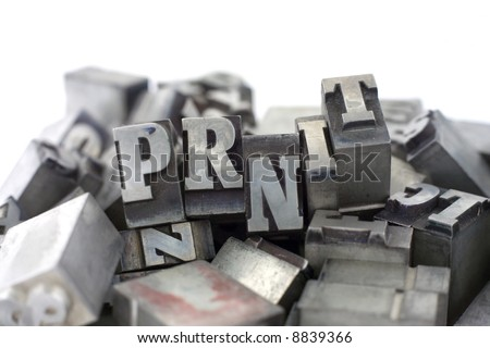 Printers blocks with the word PRINT. Upper case letters. - stock photo