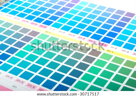 Printers Color Chart closeup (green, cyan blue) - stock photo