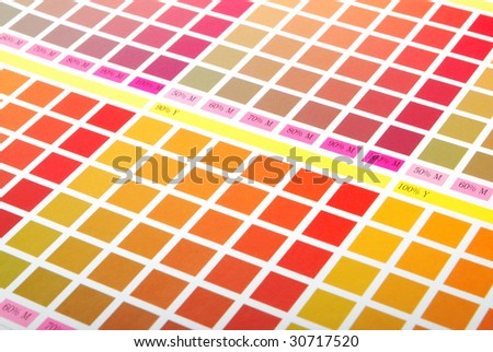 Printers Color Chart closeup (red, orange yellow) - stock photo