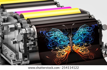 printing machine showing an abstract butterfly print - stock photo
