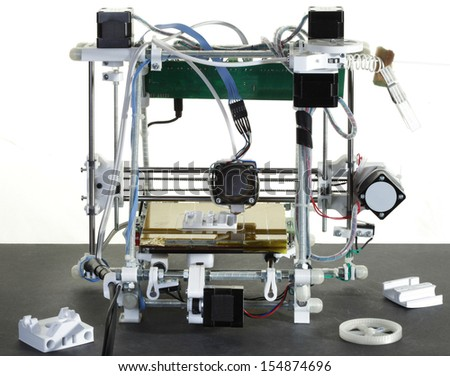 Printing Plastic Wire with 3D Printer - stock photo