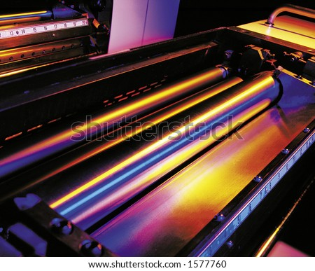 Printing press rollers. - stock photo