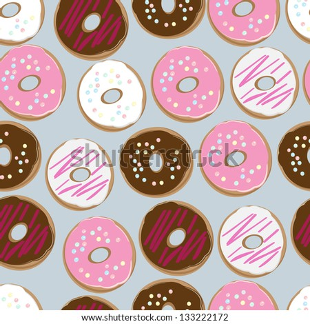PrintSeamless background pattern of assorted doughnuts, or donuts, with chocolate, white and pink iced ones covered in sprinkles scattered randomly on a white background - stock photo