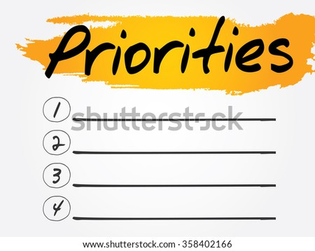 Priorities Blank List, business concept background - stock photo