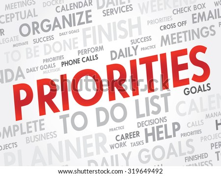PRIORITIES Word cloud,  business concept background - stock photo