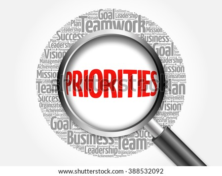 PRIORITIES word cloud with magnifying glass, business concept - stock photo