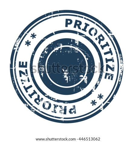 Prioritize business concept rubber stamp isolated on a white background. - stock photo