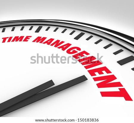Prioritizing your hours and minutes by scheduling important moments and events with clock marked Time Management - stock photo