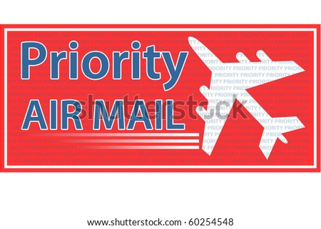 Priority Air Mail stamp, sticker or seal.