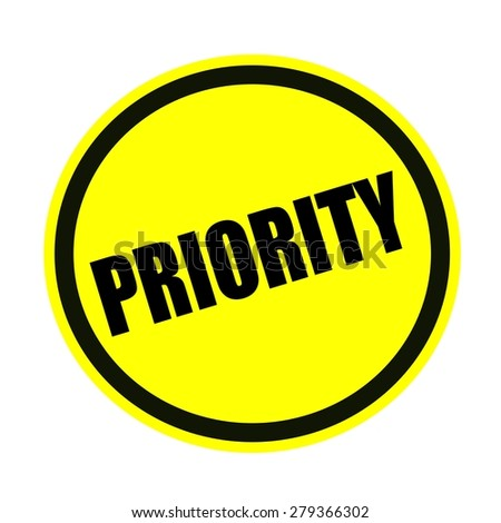 Priority black stamp text on yellow