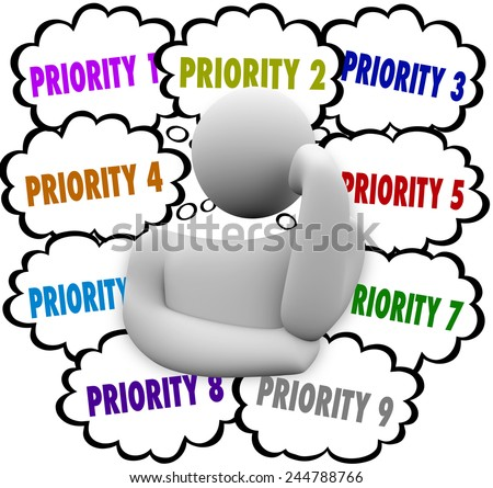 Priority words in thought clouds ordering most important and critical jobs and tasks in work - stock photo