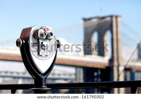 prismatic with sight to the bridge of Brooklyn - stock photo