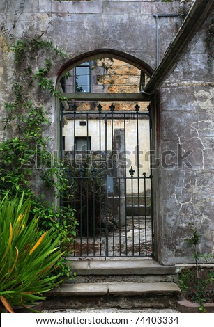 prison cell in a court yard - stock photo