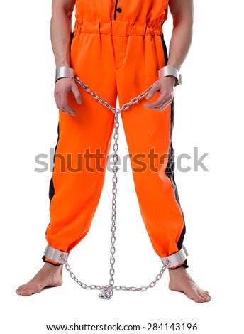 Prison concept. Image of lawbreaker handcuffed - stock photo