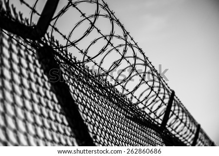 Prison Fence in Black and White. Barbed Wire Fence Closeup. - stock photo