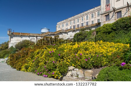 Prison Gardens at Alcatraz Island Prison, USA. - stock photo