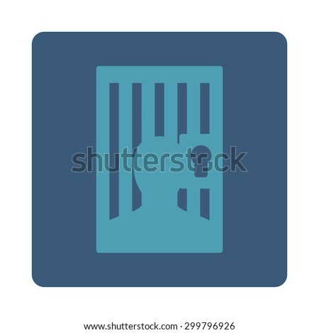 Prison icon. Glyph style is cyan and blue colors, flat rounded square button on a white background.