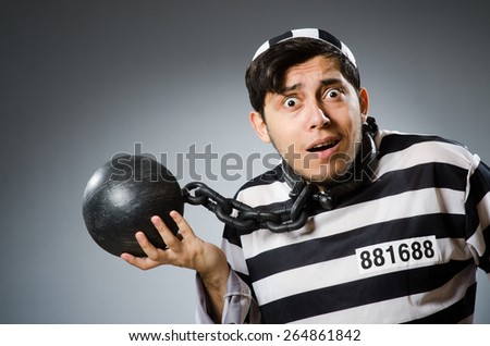 Prison inmate in funny concept - stock photo