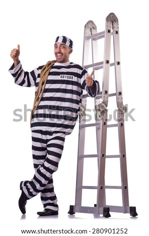Prison inmate isolated on the white - stock photo