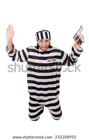 Prison inmate with gun isolated on white - stock photo