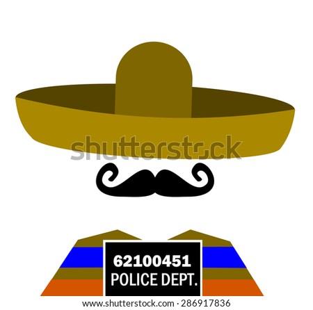 prison mugshot of man wearing sombrero - stock photo