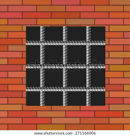 Prison Window 0n Red Brick Wall. Jail Wall with Window. - stock photo