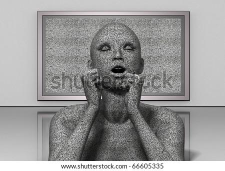 Prisoner of TV - stock photo
