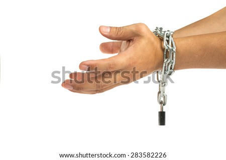 Prisoner was locked by chain with white background.