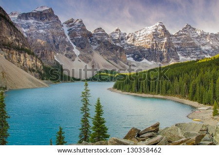 Pristine Moraine Lake on a beautiful day - stock photo