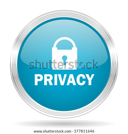 privacy blue glossy metallic circle modern web icon on white background