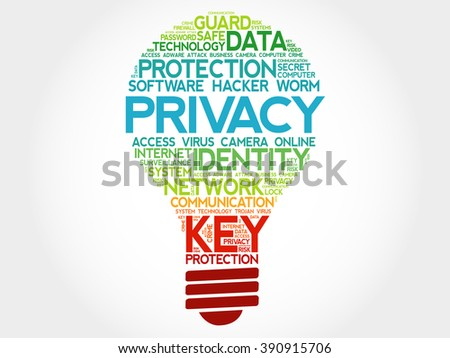 PRIVACY bulb word cloud, business concept - stock photo