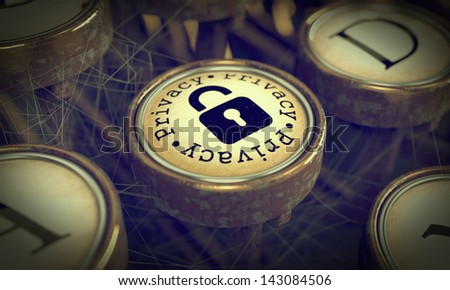 Privacy Button with Padlock Icon on Old Typewriter. Grunge Background for Your Publications. 3D Render. - stock photo