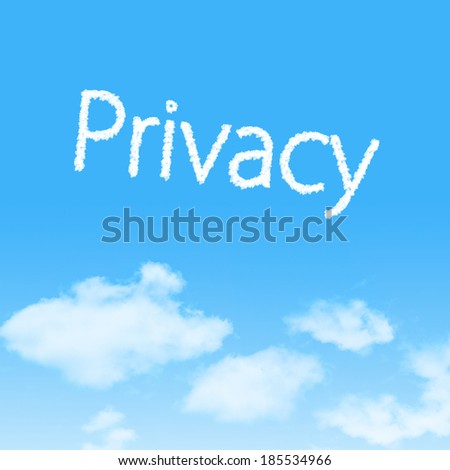 Privacy cloud icon with design on blue sky background - stock photo