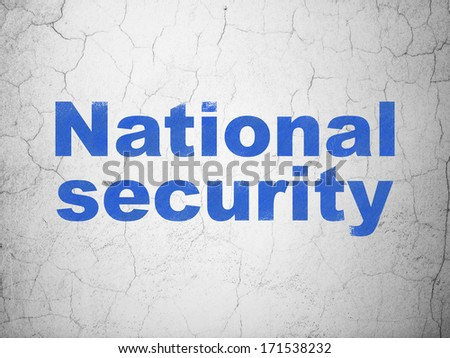 Privacy concept: Blue National Security on textured concrete wall background, 3d render
