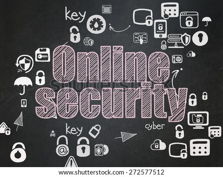 Privacy concept: Chalk Pink text Online Security on School Board background with Scheme Of Hand Drawn Security Icons, 3d render - stock photo